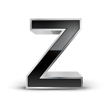 metal noir: 3d alphabet Z m�tal noir isol� sur fond blanc
