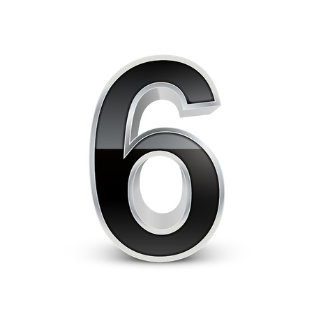 number 6: 3d black metal number 6 isolated on white background