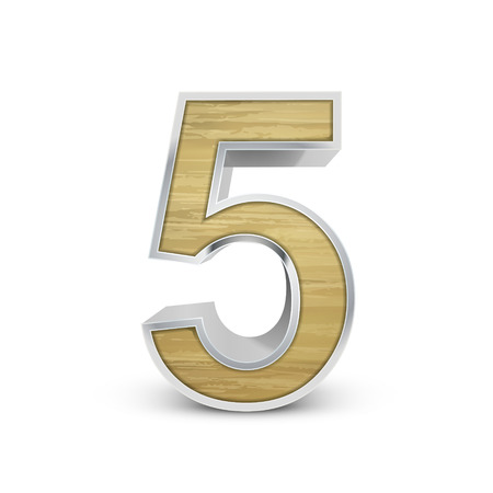 number 5: 3d attractive wooden number 5 isolated on white background Illustration