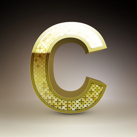 sequins: 3d golden sequins letter C isolated on brown background