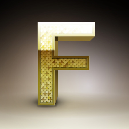 letter f: 3d golden sequins letter F isolated on brown background