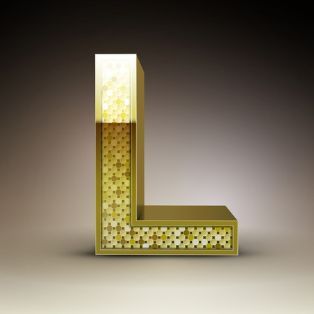 sequins: 3d golden sequins letter L isolated on brown background