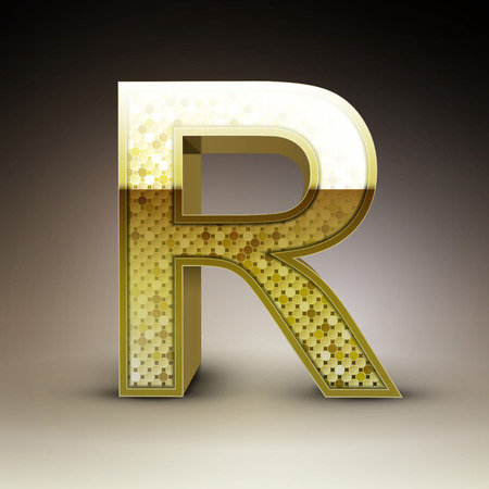 sequins: 3d golden sequins letter R isolated on brown background
