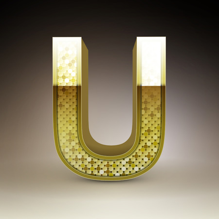 letter u: 3d golden sequins letter U isolated on brown background Illustration