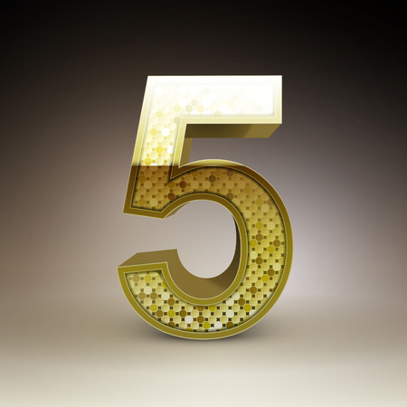 number 5: 3d golden sequins number 5 isolated on brown background