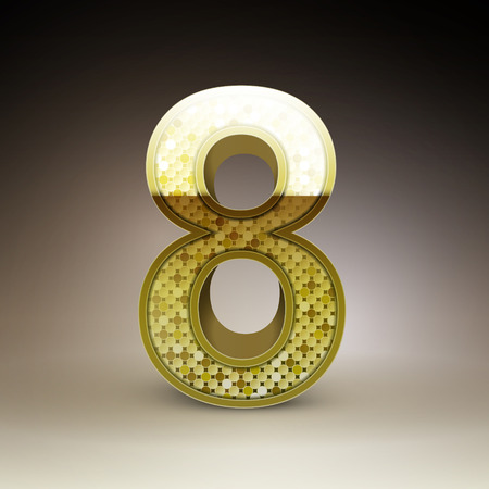 number 8: 3d golden sequins number 8 isolated on brown background Illustration