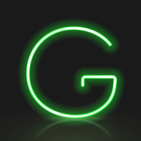 neon letter: 3d green neon light letter G isolated on black background