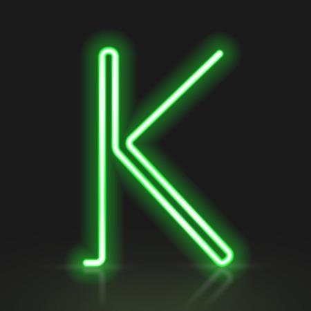 buchstabe k: 3d gr�nes Neonlicht Buchstaben K isoliert auf schwarzem Hintergrund