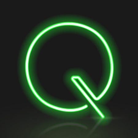 letter q: 3d green neon light letter Q isolated on black background