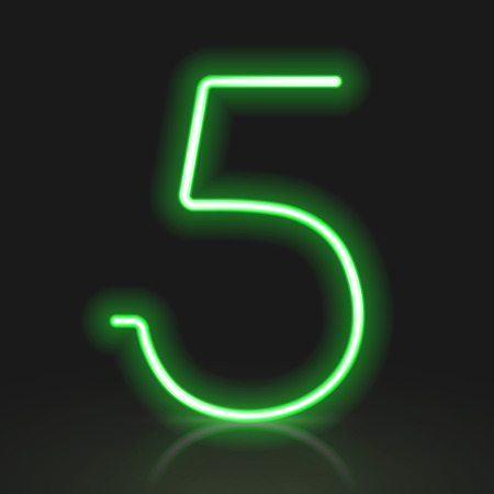 number 5: 3d green neon light number 5 isolated on black background Illustration