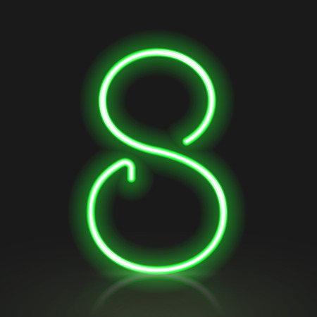 number 8: 3d green neon light number 8 isolated on black background Illustration
