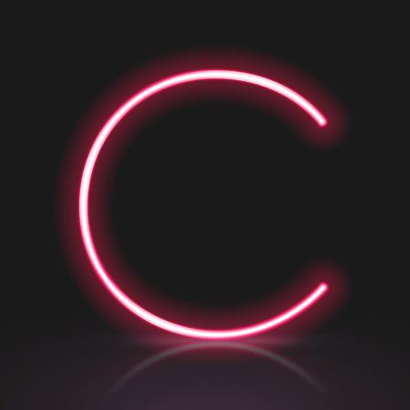 3d red neon light letter C isolated on black background Illustration