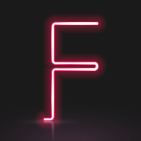 letter f: 3d red neon light letter F isolated on black background