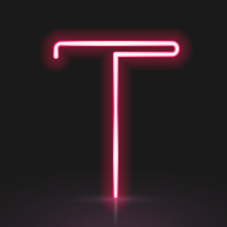 t background: 3d red neon light letter T isolated on black background
