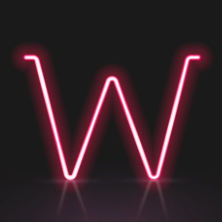letter w: 3d red neon light letter W isolated on black background Illustration