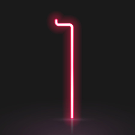neon light: 3d red neon light number 1 isolated on black background Illustration