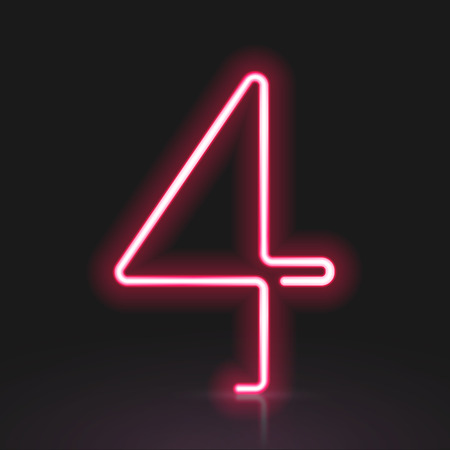 number 4: 3d red neon light number 4 isolated on black background Illustration