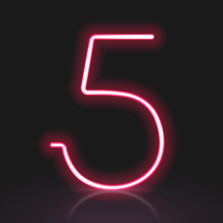 number 5: 3d red neon light number 5 isolated on black background