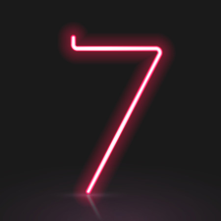 neon light: 3d red neon light number 7 isolated on black background Illustration