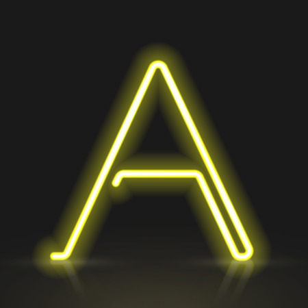 neon light: 3d yellow neon light letter A isolated on black background Illustration