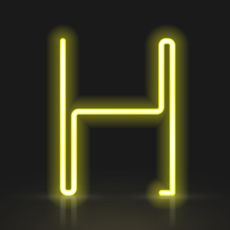 sign h: 3d yellow neon light letter H isolated on black background Illustration