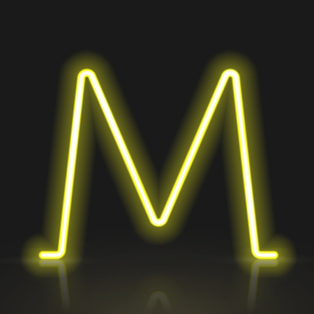 3d yellow neon light letter M isolated on black background