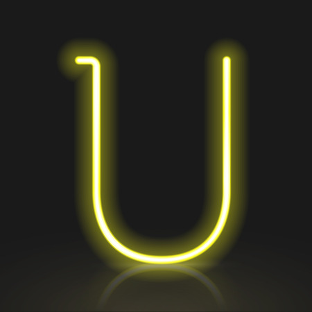 neon light: 3d yellow neon light letter U isolated on black background