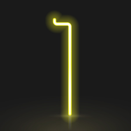 neon light: 3d yellow neon light number 1 isolated on black background