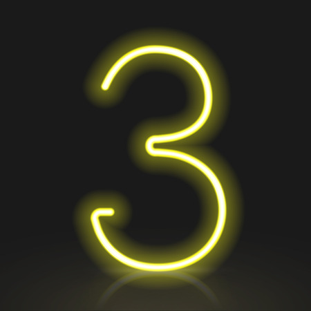 number 3: 3d yellow neon light number 3 isolated on black background Illustration