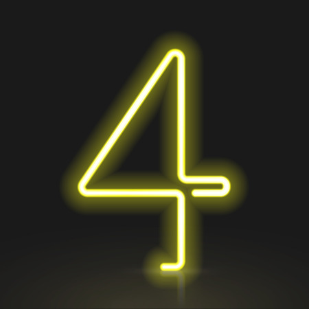Number 4: 3d yellow neon light number 4 isolated on black background Illustration