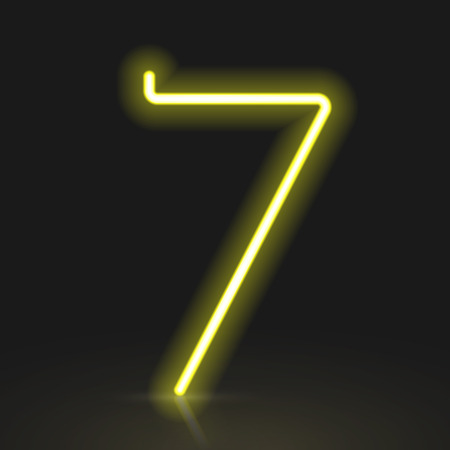 number 7: 3d yellow neon light number 7 isolated on black background Illustration
