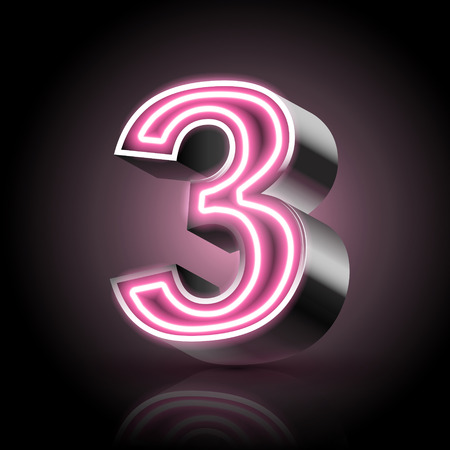 number background: 3d pink neon light number 3 isolated on black background