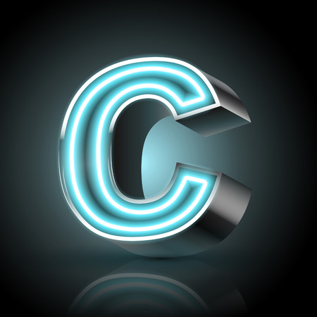 c to c: 3d blue neon light letter C isolated on black background
