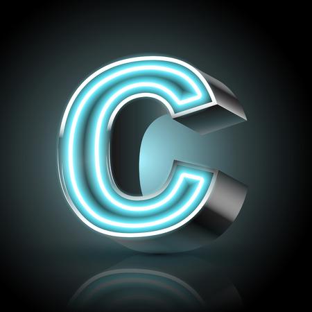 letter c: 3d blue neon light letter C isolated on black background