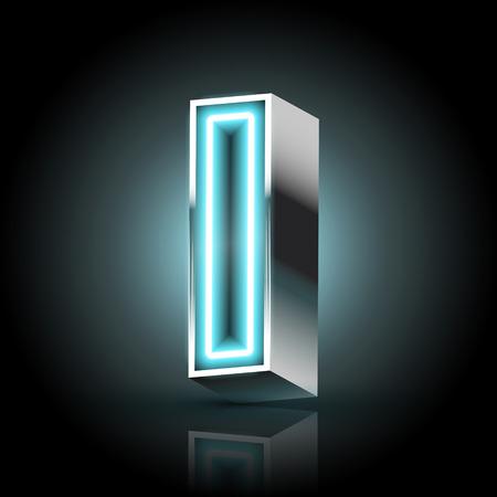 letter i: 3d blue neon light letter I isolated on black background Illustration
