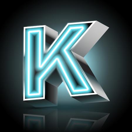 3d blue neon light letter K isolated on black background Vector