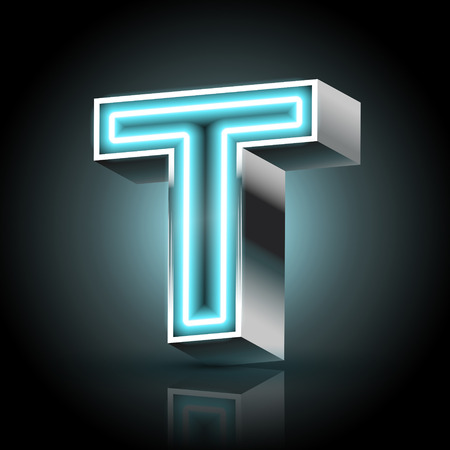 t background: 3d blue neon light letter T isolated on black background