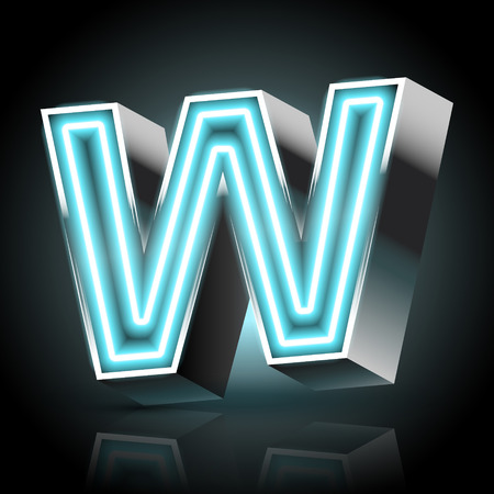 letter w: 3d blue neon light letter W isolated on black background