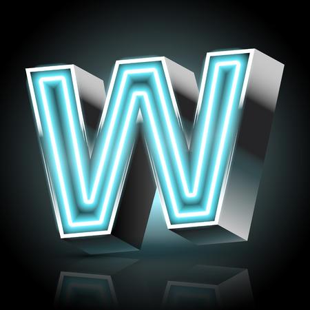 lettre alphabet: Bleu lettre de néon 3d W isolé sur fond noir