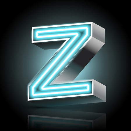 letter z: 3d blue neon light letter Z isolated on black background