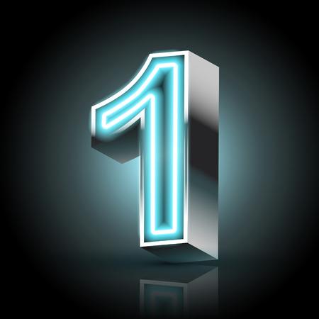 number 1: 3d blue neon light number 1 isolated on black background Illustration