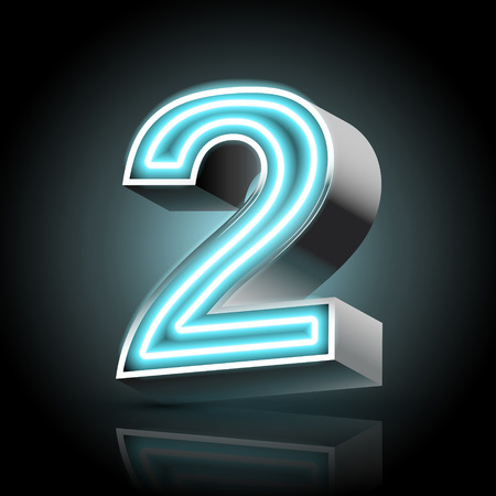 2 objects: 3d blue neon light number 2 isolated on black background Illustration
