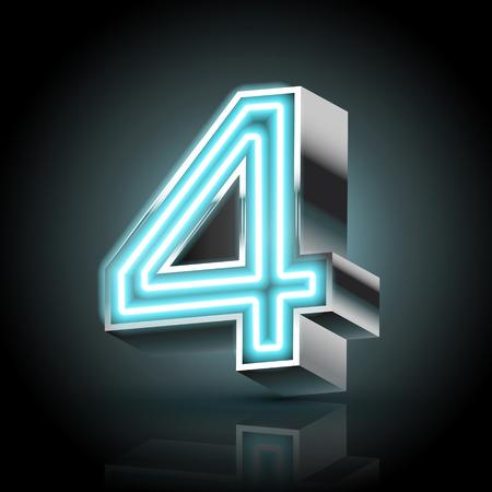 3d blauwe neon licht nummer 4 geïsoleerd op een zwarte achtergrond