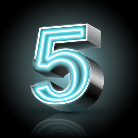 number 5: 3d blue neon light number 5 isolated on black background