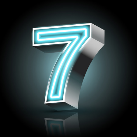 number 7: 3d blue neon light number 7 isolated on black background