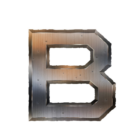 grunge metal: 3d old grunge metal letter B isolated on white background