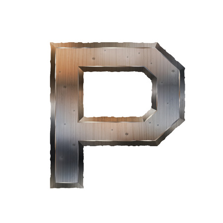 grunge metal: 3d old grunge metal letter P isolated on white background