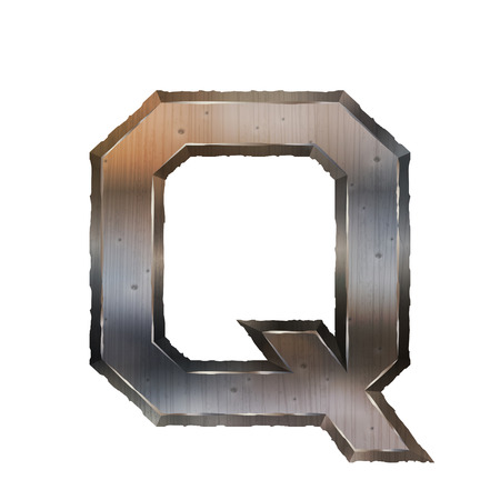 letter q: 3d old grunge metal letter Q isolated on white background