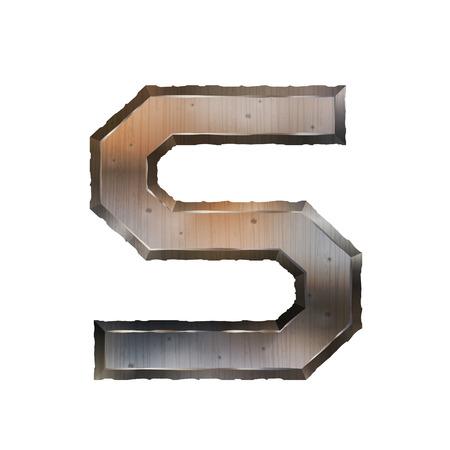 lettre s: 3d vieille lettre grunge m�tallique S isol� sur fond blanc