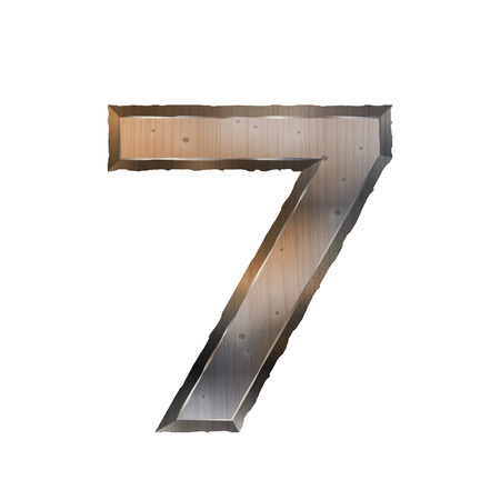 number 7: 3d old grunge metal number 7 isolated on white background Illustration